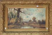 Sale 8728 - Lot 1065 - British (XIX/XX) Cottages by the Creek Oil on canvas, signed indistinctly lower right, in gilt gesso oak patterned frame