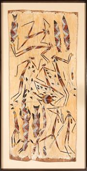Sale 8770 - Lot 4 - Djawida Nadjongorle (Circa 1943-2008), Mimih spirits, Natural Earth pigments on bark, frame size 165cm x 85cm