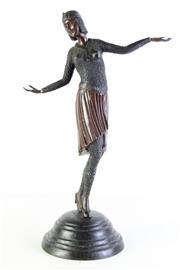 Sale 8989 - Lot 54 - Reproduction Art Deco Lady Dancer Bronze (H:54cm)