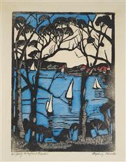 Sale 9009A - Lot 5069 - Margaret Preston (1875 - 1963) - Sydney Heads 54 x 39 cm (frame: 98 x 83 x 3 cm)