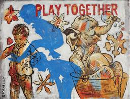Sale 9125 - Lot 512 - David Bromley (1960 - ) Play Together acrylic on linen 51 x 61 cm (frame: 55 x 70 x 6 cm) signed lower left, The Olsen Gallery label...