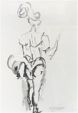Sale 9249A - Lot 5049 - SALVATORE ZOFREA (1946 - ) Dancer Study ink on rice paper 60 x 40 cm (frame: 89 x 69 cm) signed lower right