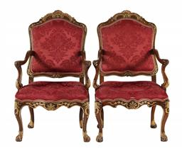 Sale 9245J - Lot 20 - A rare pair of 18th century Portuguese walnut open arm bergères, with gilt highlights and supported on carved cabriole legs, H 114cm...