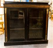 Sale 8516A - Lot 92 - An ebonised French style low lying bookshelf with striking geometric marquetry pattern. 106cm high x 114cm wide x 35cm deep