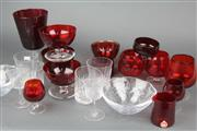 Sale 8626 - Lot 72 - Holmegaard Red Glass Footed Dish with Other Red Glass & Crystal incl. Stuart