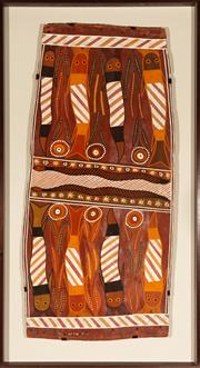 Sale 8770 - Lot 5 - George Garrawun, Water Snakes, Natural earth pigments on bark , framed, 141cm x 76cm