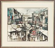 Sale 8789 - Lot 2045 - Roger Chung - My Home Town, 1964 36.5 X 44.5cm