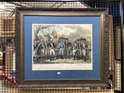 Sale 8888 - Lot 2043 - After J F Renault The British surrendering their arms to Gen. Washington 1781 hand-coloured lithograph (AF), 70 x 82cm (frame), li...