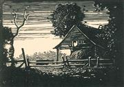 Sale 8896A - Lot 5011 - Lewis Roy Davies (1897 - 1979) - Sliprails and Barn, 1922 7 x 9.5 cm