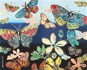 Sale 9009A - Lot 5078 - David Bromley (1960 - ) - Butterflies 28.5 x 34.5 cm (frame: 57 x 63 x 2 cm)