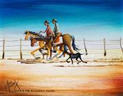 Sale 9034A - Lot 5021 - Max Mannix (1939 - ) - Riding the boundary fence 20 x 25 cm (40 x 44 x 4 cm)