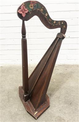 Sale 9112 - Lot 1048 - Floral painted harp (H:92cm)