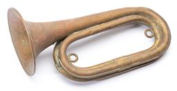 Sale 9130E - Lot 83 - A brass bugle, missing mouth piece, Length 27cm