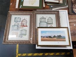 Sale 9127 - Lot 2096 - 5 Framed Prints incl. Landscapes, Bird Cages, Vanity Items, etc various Sizes