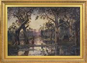 Sale 8394 - Lot 594 - Artist Unknown (XIX) - Australian Landscape with Aboriginals Camping 60 x 90.5cm