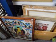 Sale 8464 - Lot 2078 - 5 Framed Artworks incl one of the Buddha