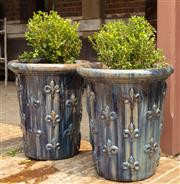 Sale 8871H - Lot 28 - A pair of tall French style glazed ceramic planters with blue finish and planted with buxus, height 65, diameter 58cm (height does n...