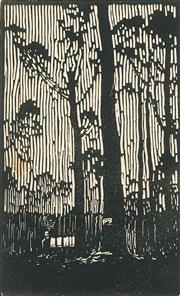 Sale 8896A - Lot 5019 - Lewis Roy Davies (1897 - 1979) - Untitled (Eucalyptus) 11.5 x 7 cm
