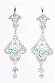 Sale 8299J - Lot 367 - A PAIR OF DECO STYLE DIAMOND AND GEMSET DROP EARRING; cannetille style articulating frames in 18ct white gold set with 108 round bri...