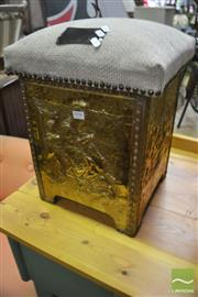 Sale 8289 - Lot 1096 - Pressed Brass Base Stool with Upholstered Lift Top