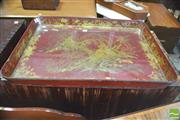 Sale 8390 - Lot 1032 - Regency Red Chinoiserie Papier Mache Tray, with fantastic gilt pagoda landscape (distressed/ losses)