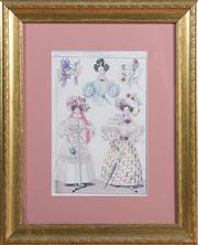 Sale 8430 - Lot 7 - A group of ten Regency style Fashion prints in gilt frames. 42 x 34cm.