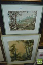 Sale 8425T - Lot 2026 - Artist Unknown (2 works), Bush Scenes, oil paintings, 50 x 40cm (approx.), each signed lower