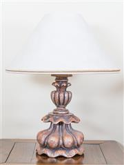 Sale 8489A - Lot 11 - A pair of decorative table lamps with fancy painted plaster bases, with shades, total H 60cm