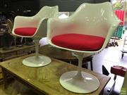 Sale 8648 - Lot 1082 - Pair of Eero Saarinen replica tulip arm chairs with red cushions - as new