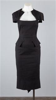 Sale 8685F - Lot 39 - A Roland Mouret cotton-blend structured, geometric multi-panel dress , size UK 10