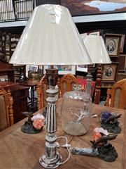 Sale 8697 - Lot 1037 - Pair of Tall Stressed Timber Table Lamps