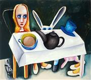 Sale 8838 - Lot 532 - Charles Blackman (1928 - 2018) - Feet Beneath the Table 65 x 75cm