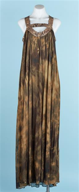 Sale 9091F - Lot 71 - A MICHAEL KORS CROCODILE PATTERN FLOOR LENGTH DRESS; with zip up back, size 6