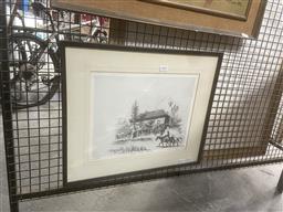 Sale 9111 - Lot 2092 - Lionel Lindsay Facsimile etching of the Royal Hotel Windsor, ed. 46/100, frame: 42 x 50 cm