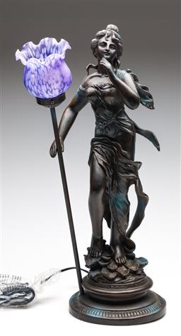 Sale 9246 - Lot 33 - A large composite lady lamp (H:61cm - untested)