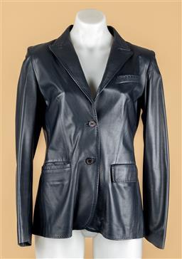 Sale 9250F - Lot 54 - A Bally midnight blue leather jacket, size 38.