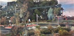 Sale 9249A - Lot 5076 - RONALD JOHN NEAL (1969 - ) Study for Roundabout, 2000 oil on canvas 25 x 51 cm signed lower right