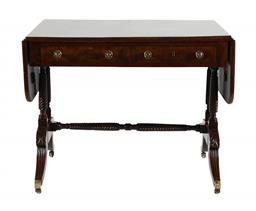 Sale 9245J - Lot 19 - A George III flame mahogany two drawer drop side table, with turned stretcher base and brass fittings, H 74cm x W 150cm Depth 75cm