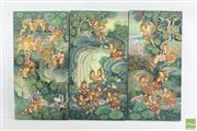 Sale 8490 - Lot 38 - Burmese Painted Triptych Panels of Musicians , Dancers & Animals