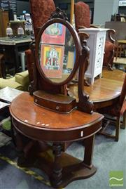 Sale 8542 - Lot 1042 - Timber Demi Lune Mirrored Back Dresser