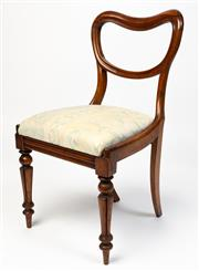 Sale 8599A - Lot 93 - A set of four antique English Brazilian rosewood kidney back chairs c. 1865 with patterned cotton drop in seats raised on bobbin and...