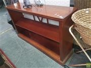 Sale 8620 - Lot 1078 - Timber Open Bookcase with Inlaid Top (H:81 W:141 D:33cm)