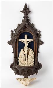 Sale 8651A - Lot 15 - A French Gothic oak encased Corpus Christi c. 1850s, H 67 x W 30 x D 15cm