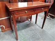 Sale 8848 - Lot 1079 - Late Georgian Oak Tea Table, with hinged top & two inlaid drawers, on tapering legs