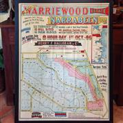 Sale 8878T - Lot 34 - Coloured Warriewood Estate Narabeen Auction Poster Dated 1st October 1906 Some minor tears and fraying to edges Dimensions of Fram...
