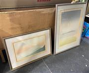 Sale 9004 - Lot 2058 - Artist Unknown (2 works)  New Zealand Mountainscapes editioned screenprints, 46 x 60cm; 77 x 59cm (frames)