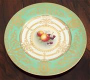 Sale 9070H - Lot 93 - A Royal Worcester cabinet plate by E Townsend depicting Autumn fruits, Diameter 27cm
