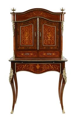 Sale 9245J - Lot 50 - A fine French kingwood ladies writing desk, with satinwood marquetry inlay, ebony and burr walnut inlaid panels and detailed ormolu ...