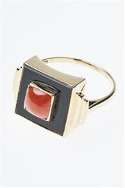 Sale 8293 - Lot 342 - A 9CT GOLD DECO STYLE STONE SET RING; square onyx plaque set with a cabochon coral, size N-O.