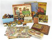 Sale 8330T - Lot 77 - Vintage Timber and Paper Toys and Puzzles; 2 x dissected puzzles, 3 x picture puzzle blocks incl one boxed by K.T. Japan, farm piece...